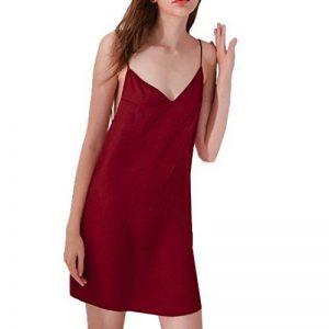 Turquie Femme Lingerie sexy dos nu Nuisette Slithery Pyjama Sous-vêtements de nuit, Red, Taille M de la marque Turkey image 0 produit